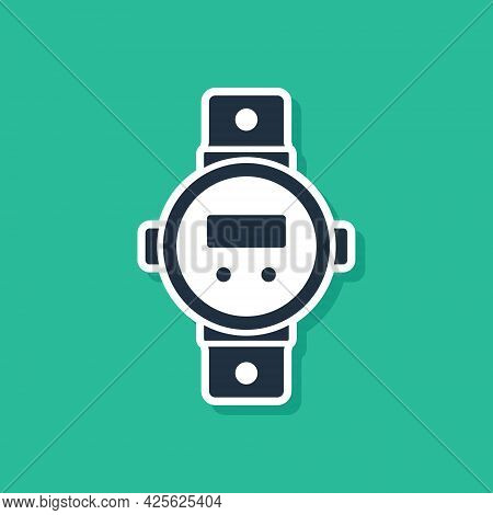 Blue Diving Watch Icon Isolated On Green Background. Diving Underwater Equipment. Vector