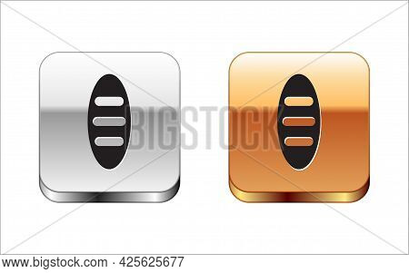 Black Bread Loaf Icon Isolated On White Background. Silver-gold Square Button. Vector