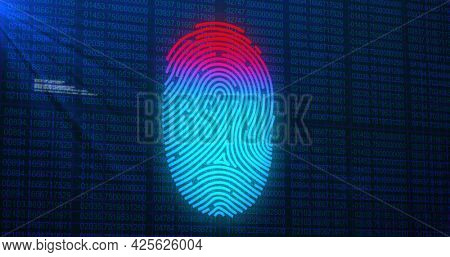 Image of digital biometric fingerprint computer interface icon on mesh black background. Global computer network and online security concept digitally generated image.