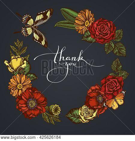 Dark Floral Wreath Of Poppy Flower, Calendula, Plain Tiger, Papilio Torquatus, Roses Stock Illustrat