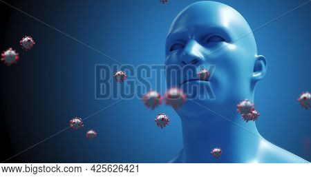Image of macro Coronavirus Covid-19 cells floating over a 3D human model in the background. Medicine public health pandemic coronavirus Covid 19 outbreak concept digitally generated image. 4k