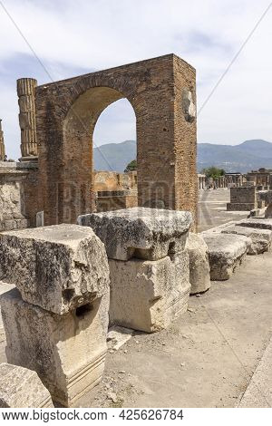 Pompeii, Naples, Italy - June 26, 2021:  Forum Of City Destroyed By The Eruption Of The Volcano Vesu