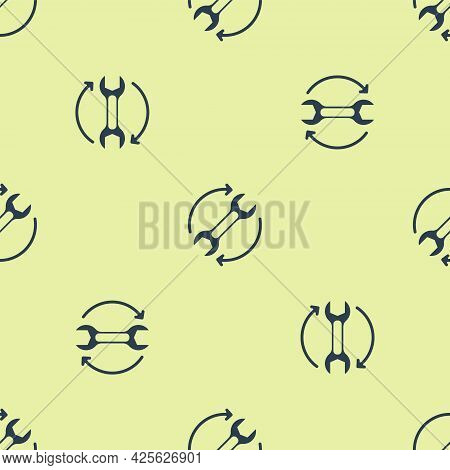 Blue Wrench Spanner And Arrows As Workflow Icon Isolated Seamless Pattern On Yellow Background. Adju