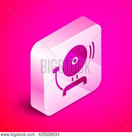 Isometric Ringing Alarm Bell Icon Isolated On Pink Background. Fire Alarm System. Service Bell, Hand