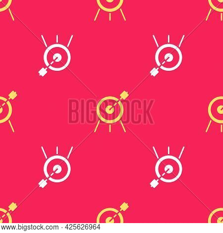 Yellow Target Sport Icon Isolated Seamless Pattern On Red Background. Clean Target With Numbers For