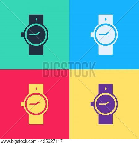 Pop Art Wrist Watch Icon Isolated On Color Background. Wristwatch Icon. Vector