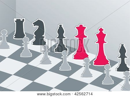 Chess Figures In Gray With Red King And Queen