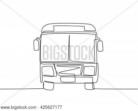 Continuous One Line Drawing Front View Of Bus That Is Stopped At The Bus Stop Waiting For Passengers