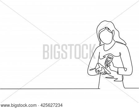 Single One Line Drawing Of A Woman Pours Hand Sanitizer Into Her Palms To Avoid Bacteria And Be More