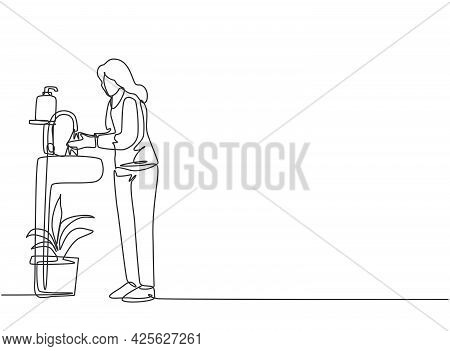 Continuous One Line Drawing A Woman Washes Her Hands In The Sink, There Is A Soap Dish By The Tap An