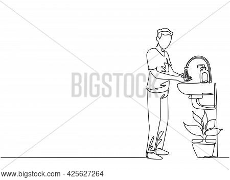Single Continuous Line Drawing A Man Washes His Hands In The Sink, There Is A Soap Dispenser By The