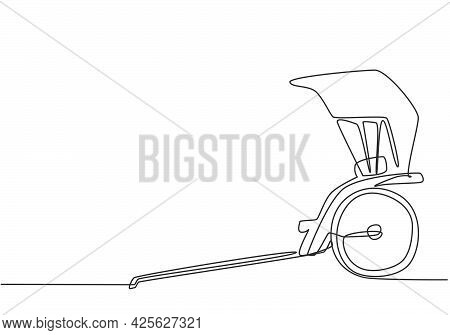 Single Continuous Line Drawing Pulled Rickshaw From The Side, An Ancient Vehicle In China And Japan