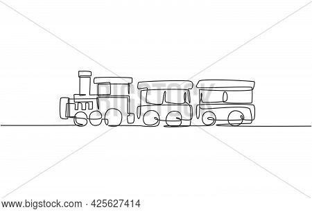 Single Continuous Line Drawing Of A Locomotive Train With Two Carriages In The Form Of A Roving Stea