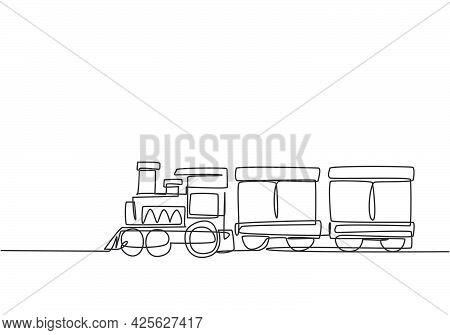 Single One Line Drawing Of A Train Locomotive With Two Carriages In The Form Of A Roving Steam Syste