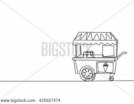 Continuous One Line Drawing Of An Ice Cream Booth At An Amusement Park Using A Two-wheeled Cart. Del