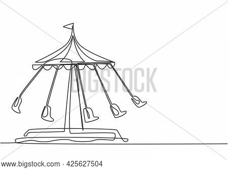Continuous One Line Drawing Of A Wave Swinger In An Amusement Park With Five Seats And A Flag Above