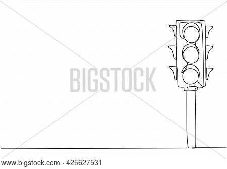 Continuous One Line Drawing Of Traffic Lights With Poles To Regulate Vehicle Travel At Road Intersec