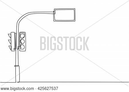 Single One Line Drawing Of A Traffic Light That Uses Countdown Time To Inform Road Users Of Remainin