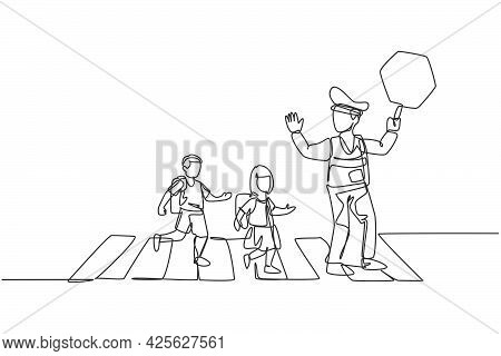 Continuous One Line Drawing Of Primary School Students Crossing The Road On The Zebra Crossing Are H
