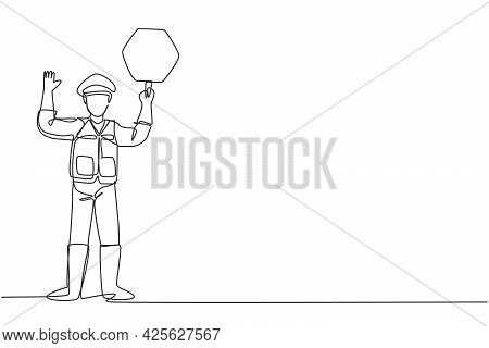 Single Continuous Line Drawing Policeman In Full Uniform And Lifting Traffic Signs Are Controlling T