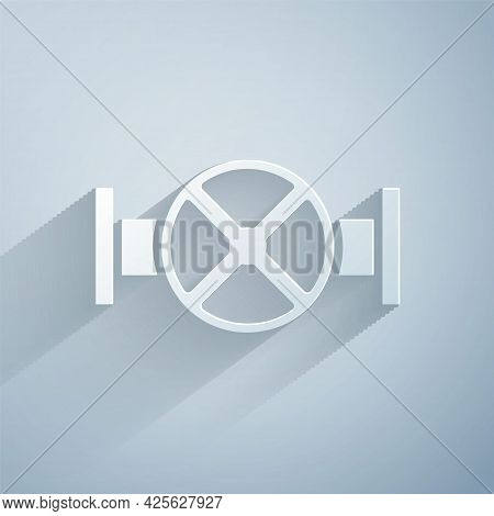 Paper Cut Industry Metallic Pipe And Valve Icon Isolated On Grey Background. Paper Art Style. Vector