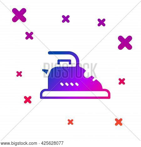 Color Electric Iron Icon Isolated On White Background. Steam Iron. Gradient Random Dynamic Shapes. V