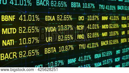 Image of blue and yellow stock market data rolling and processing over a grid. Global economy stock market concept digital composition