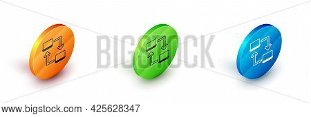 Isometric Online Working Icon Isolated On White Background. Freelancer Man Working On Laptop At His