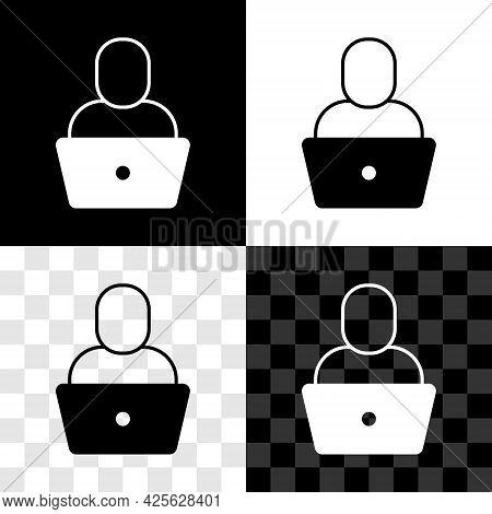 Set Freelancer Icon Isolated On Black And White, Transparent Background. Freelancer Man Working On L