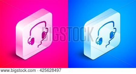 Isometric Headphones Icon Isolated On Pink And Blue Background. Earphones. Concept For Listening To