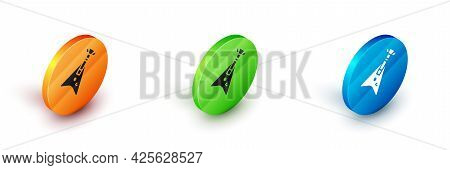 Isometric Electric Bass Guitar Icon Isolated On White Background. Circle Button. Vector
