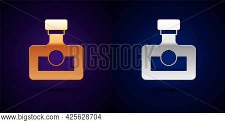 Gold And Silver Alcohol Drink Rum Bottle Icon Isolated On Black Background. Vector