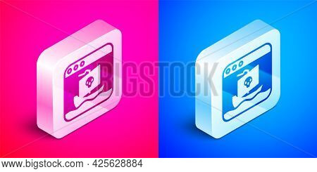 Isometric Internet Piracy Icon Isolated On Pink And Blue Background. Online Piracy. Cyberspace Crime