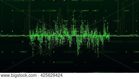 Image of a green graph made of dots going up and down with rising numbers floating on black background. Global economy stock market concept digital composition