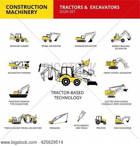 Tractor-based Vehicle Construction Machinery Transport Icons Set
