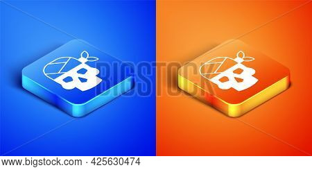 Isometric Pirate Captain Icon Isolated On Blue And Orange Background. Square Button. Vector
