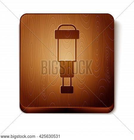 Brown Spyglass Telescope Lens Icon Isolated On White Background. Sailor Spyglass. Wooden Square Butt