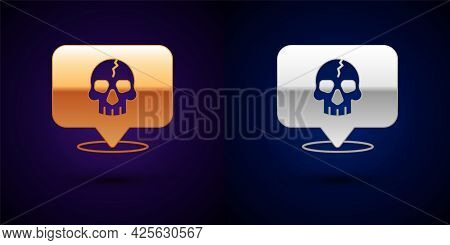 Gold And Silver Skull Icon Isolated On Black Background. Pirate Captain. Happy Halloween Party. Vect