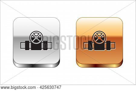 Black Industry Metallic Pipes And Valve Icon Isolated On White Background. Silver And Gold Square Bu