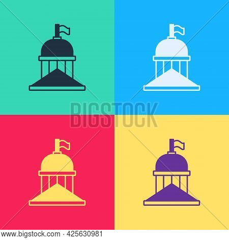 Pop Art White House Icon Isolated On Color Background. Washington Dc. Vector