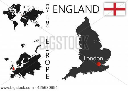Realistic Vector Map Of England With Flag. The Location Of The Country On The Map Of The World And E