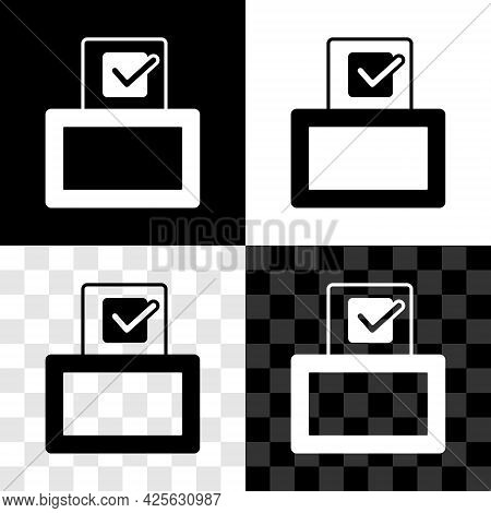 Set Vote Box Or Ballot Box With Envelope Icon Isolated On Black And White, Transparent Background. V