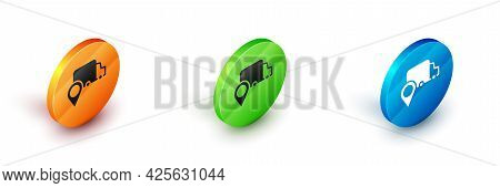 Isometric Delivery Tracking Icon Isolated On White Background. Parcel Tracking. Circle Button. Vecto