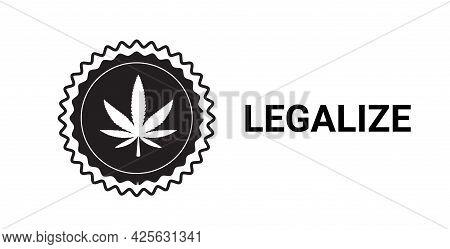 Medical Cannabis Or Marijuana Leaf Logo Hemp Extract Cbd Ganja Legalize Drug Consumption Concept Hor