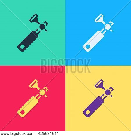Pop Art Jewelers Lupe For Diamond Grading With Dimond Icon Isolated On Color Background. Vector