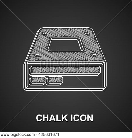 Chalk Optical Disc Drive Icon Isolated On Black Background. Cd Dvd Laptop Tray Drive For Read And Wr