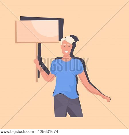 Man Protester Holding Blank Protest Poster Guy With Vote Placard Demonstration Speech Political Free