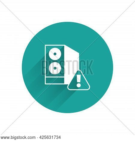 White Case Of Computer With Exclamation Mark Icon Isolated With Long Shadow Background. Computer Ser