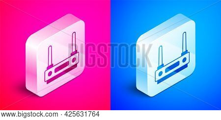 Isometric Router And Wi-fi Signal Icon Isolated On Pink And Blue Background. Wireless Ethernet Modem
