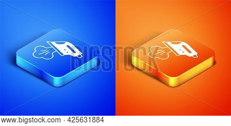 Isometric Electric Iron Icon Isolated On Blue And Orange Background. Steam Iron. Square Button. Vect